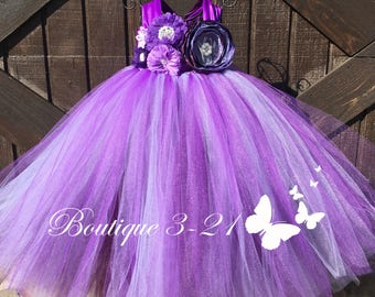 Ready to ship! Lavender Flower Girl Dress, Purple Flower Girl Dress, Plum Flower Girl Dress, Lavender Tutu Dress, Purple Tutu Dress, Plum