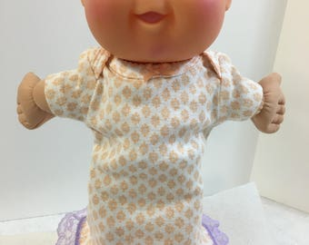 "Cabbage Patch PREEMIE 11 inch Doll Clothes, Tiny Orange ""FLOWERS with Purple"" Nightgown, Cabbage Patch 11"" Preemie Baby, I Love FLOWERS!"