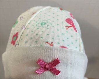 "15 inch Bitty Baby Doll Hat, ""BUTTERFLIES, Hearts & FLOWERS"" Doll HAT, 15 inch Bitty Baby Clothes or Twin Doll, 15 inch Baby Doll Clothes"