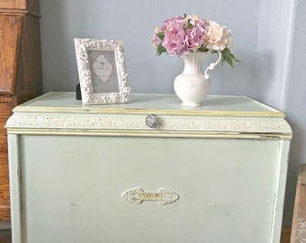 Vintage Blanket Box Painted Linen Chest Shabby Chic Console Table