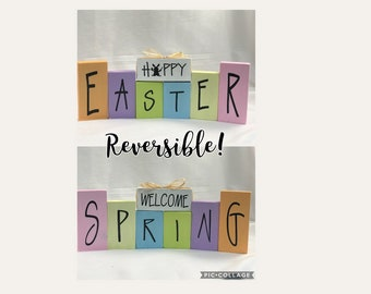 Happy Easter/Welcome Spring- Reversible block set, home decor, Easter decor, spring decor
