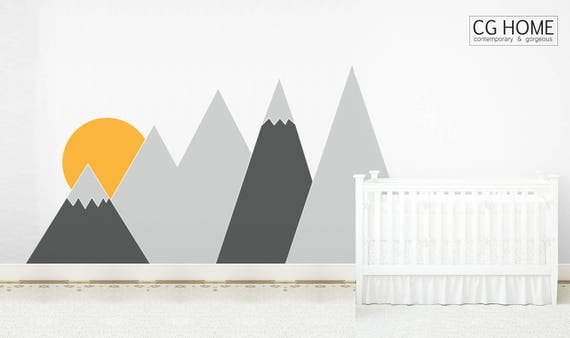 Entire Wall Covering MOUNTAIN Sun Wall Decal Whole Wall Protection Headboard Corner Mountains Custom washable self adhesive sticker Nursery