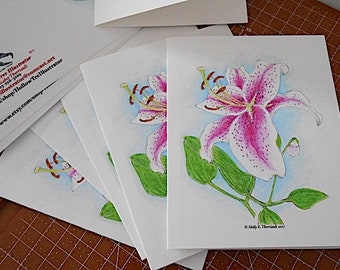 Lily Note Card/Blank Note Card/Any Occasion Card/Birthday Card/ Package of 5 CardS