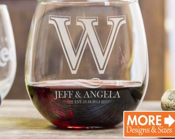 Wine Glasses Personalized, Wedding Gifts For Couple, Stemless Wine Glass, Monogram Gift, Etched Wine Glass, Custom Wine Glass, Engagement