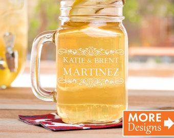 Engraved  Mason Jars, Wedding Gift, Personalized Favors, Gift For Bride, Etched Mason Jar, Wedding Favor,Monogram Mason Jar,Anniversary Gift