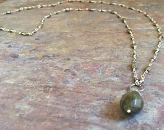 Pyrite gemstones silver long necklace with a labradorite pendant