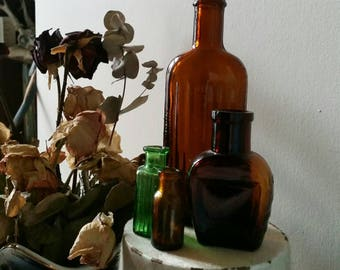 Antique bottles ~ group of small antique apothecary bottles in various sizes/colours, chemist, vases, curiosities