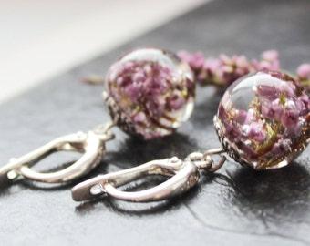 Real pink heather Resin Sphere Earrings Flower Resin Jewelry Real pink heather Earrings Valentin's gift Mother's gift botanical earrings