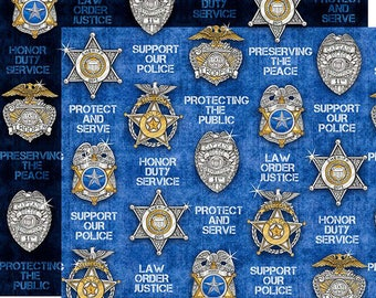 Shields Fabric; You Choose Size; 26130-N/B Navy or Blue; Quilting Treasures; Protect and Serve; Police Shields, Badge; Law Enforcement