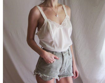 70s Nylon and Lace Cami S M