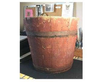 SIGNED Antique 1860s Wooden country Sap Bucket in Old Red Paint
