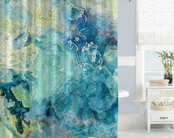 Abstract Art Shower Curtain Contemporary Bathroom Decor Blue Green Aqua Cream