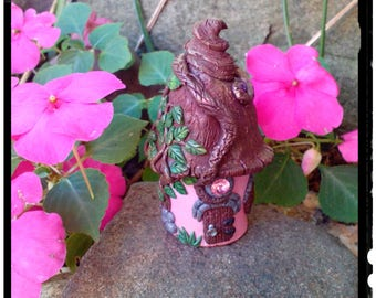 Miniature Fairy Garden House Handmade in Polymer Clay Pretty in Pink Cottage with Glow-in-the-dark Window for Teacup Gardens Terrariums