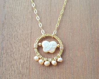 Wire Wrapped Peach Pink Freshwater Pearls Butterfly Circle Pendant Necklace 18K Gold Plated 925 Sterling Silver / Vermeil Pearl Necklace