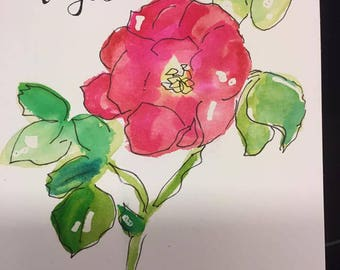 Small 5 x 7 Rosa Rugosa watercolor I painted on 140 lb. hot press watercolor paper using watercolors and permanent ink pen.