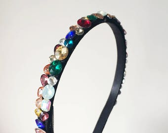 Regan Headband - Rhinestone headband - Womens headband - Adult headband -  Colorful headband - Colorful rhinestones