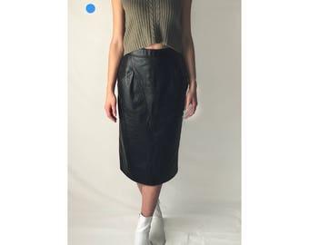80s Black Leather Midi Skirt