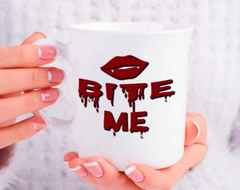 Halloween Vampire Coffee Cup, Bite Me Phlebotomy Venipuncture Tea Coffee Drink Mug, Vampire Teeth Mug, Unique Gift Idea for Him or Her