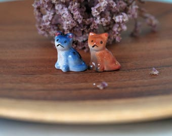 Miniature Ceramic Handpainted Sad Tabby Cat Figurine, Ceramic Cat Terrarium Decor Figurine, Mini Kitty Cat Totem, Cat Lover Gifts, Cat Charm