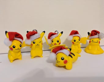 Santa Pikachu Ornaments 6 styles available. Really 5, ones a Ditto.