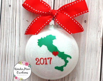 Italy Christmas Ornament; Italian Love Christmas Ornament; Italy Vacation Christmas Ornament; Italy Home Sweet Home Ornament