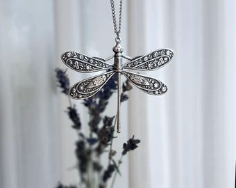 Dragonfly Necklace Silver Antique Necklace Vintage Nature Necklace Witchy Necklace Bohemian Necklace Dragonfly Jewelry Dragonfly Jewellery