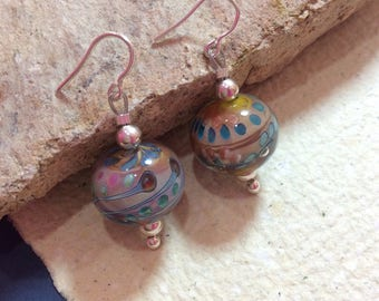 Terra Earrings, made with Murano glass and Sterling Silver