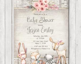 Woodland Baby Shower Invitation, Rustic Forest Baby Shower Invitation, Girl Invite, Wood, Deer, Flowers Invitation, Printable Invitation 5x7