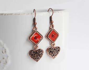 Antiqued Copper Earrings With Heart Shaped Charm, Copper Heart Earrings, Dangle Copper Heart Earrings