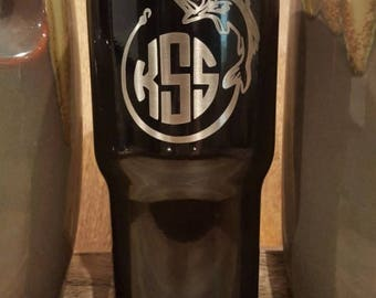 Personalized Powder Coated Tumbler (Mug). Laser Engraved Fisherman Monogram. Choose from 22 tumbler colors. Perfect for gift giving..