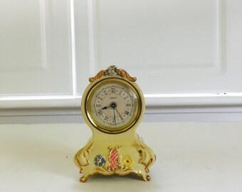 Vintage Wind Up Alarm Clock, Flowers, Cherie