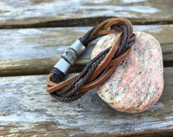 Men's Leather Bracelet Gift For Men Gift Under 10 For Boyfriend Leather Bracelet Mens Bracelet With Secure Metal Clasp