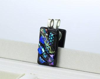 Multi Coloured Textured Pendant-Small Fused Glass Pendant-Dichroic Glass Necklace-Dichroic Glass Jewelry-Fused Glass Jewellery. JBT574