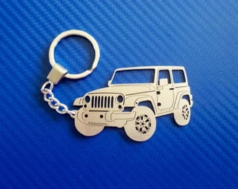 WRANGLER Jeep Key chain, Personalized Keychain, Car Keychain, Keychain for Wrangler, Custom Keychain, Stainless Steel Keyring, Personal Gift