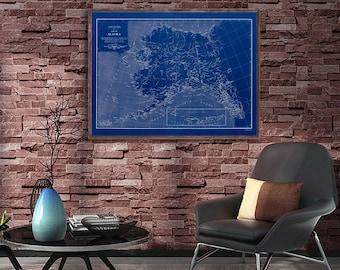 "1909 Alaska map, vintage Alaska map reprint - 3 color choices and 4 large/XL sizes up to 48"" x 36"""