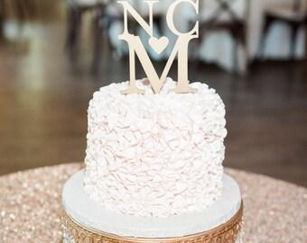 Wooden Wedding Cake Topper, Modern Cake Topper, Monogram Cake Topper, Initials with Heart Cake Topper, Personalized Cake Topper for Weddings