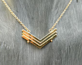 Triple Chevron necklace, gold chevron necklace, trendy, popular, inspired necklace