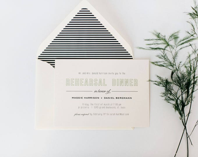 simple, modern rehearsal dinner invitation (sets of 10)  // classic custom grey gray green calligraphy romantic invite
