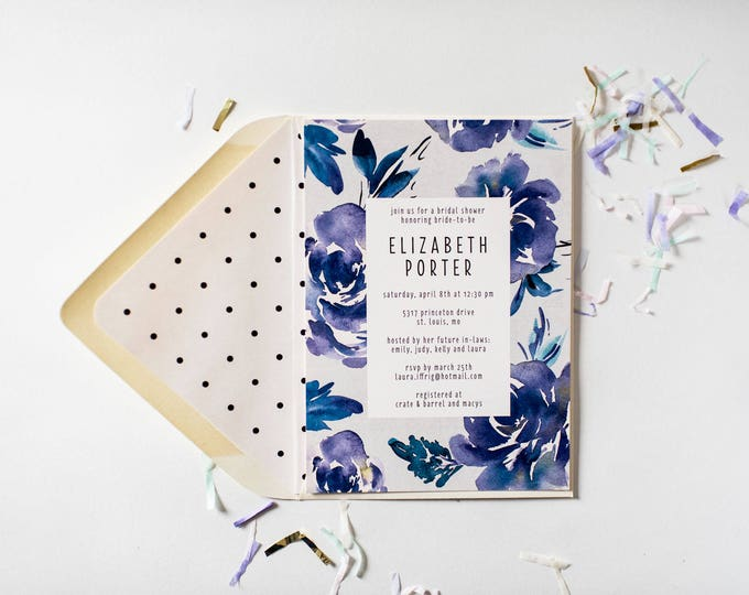 NEW! blue floral bridal shower / baby shower invitation  - customizable (sets of 10)  //  watercolor floral gold foil blue shower invite