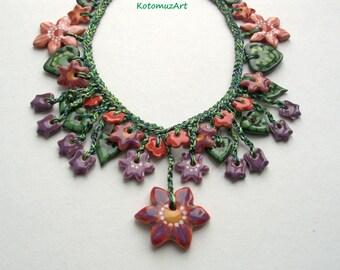 "Ceramic jewelry, Artistic jewelry, Jewelry necklace, Flower necklace, ceramic flowers, Necklace with floral motifs ""Bellflowers"""