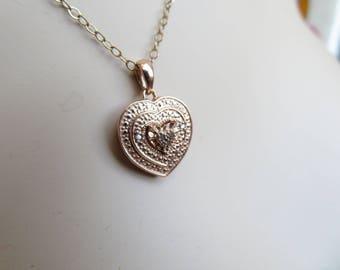 Graduating Heart .05ctw Genuine Diamond 14k Rose Gold/925 Sterling Pendant on 12ktGF 18 Inch Chain, Wt. 3g