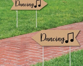 Wedding & Reception Signs - Rustic Wedding Dancing Sign - Double Sided Directional Yard Signs - Wedding Sign Arrow - Set of 2 Dancing Sign