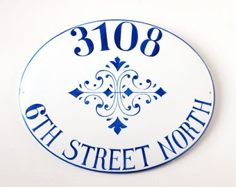 Blue custom ceramic house numbers, house plaque, ceramic house sign, address plaque, name sign for home