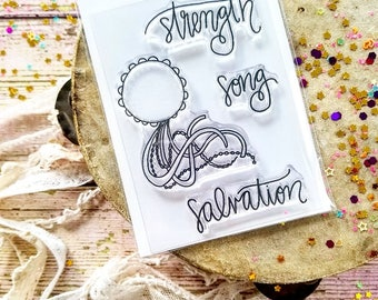 Miriam's Song Mini Stamps Christian Scrapbooking Stamping Bible Journaling Tambourine Strength Salvation Worship Growing Meadows Tai Bender
