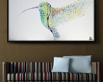 "Painting Humming Bird 60"" Original oil painting on canvas, Clean Modern looks, Beautiful refreshing colors, Express shipping, Koby Feldmos"