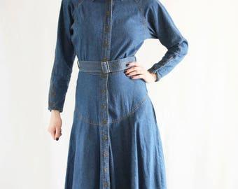 Vintage 70's 80's Betty Barclay Denim Jean Maxi Long Padded A-Line Dress - S/M