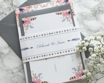 Boho Wedding Invitation with watercolour floral and feather print Wedding Invitation Set reply card & belly band Wedding Invite Suite Sample