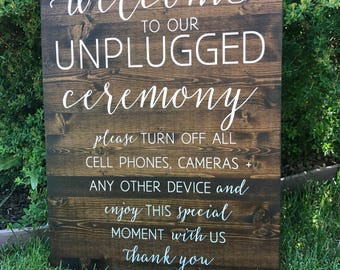 Unplugged Wedding Sign, Unplugged Ceremony Sign, Rustic Wood Wedding Sign - Sophia Collection