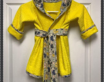 Beach Robe, Bath Robe, Size Medium Child, Sunshine Yellow Terry with Cotton Butterflies in Navy-Grey trim