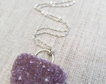 Large Purple Druzy on Silver Chain - perfect for layering, handmade necklace, druzy necklace, handmade jewelry, geometric